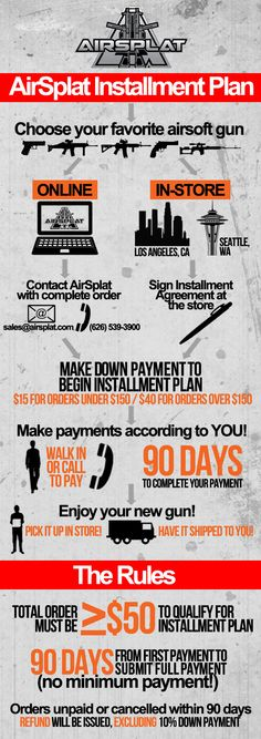 **REPIN!** Need to save up for Christmas? Check out AirSplat's Installment Plan! Down payment starts as low as $15. http://www.airsplat.com/airsplat-airsoft-installment-plan.htm