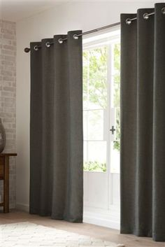 French Grey Textured Weave Eyelet Curtains