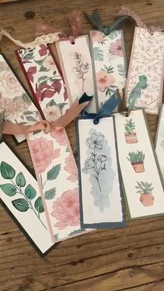 Vintage Bookmarks, Paper Bookmarks, Watercolor Bookmarks, Ribbon Bookmarks, Watercolor Art Lessons, Watercolor Paintings For Beginners, Homemade Bookmarks, Flower Drawing Tutorials, Creative Bookmarks