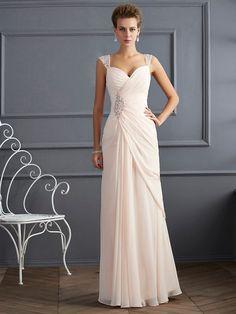 Sheath/Column Straps Sleeveless Floor-Length Chiffon Dresses with Beading