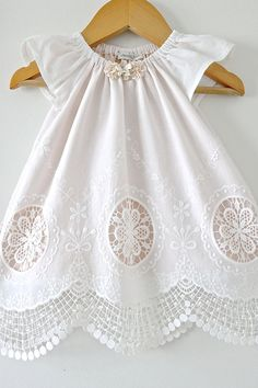 Baby Girl Baptism Dress-Antique White Lace and by ChasingMini