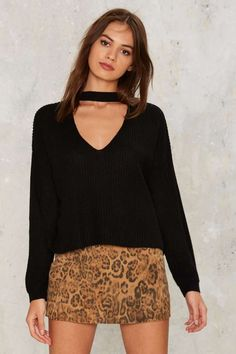 Nasty Gal Down the Rabbit Hole Plunging Sweater - Clothes | Best Sellers | Last Chance | Knits | Pullover | Tops