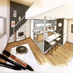 House architecture design sketch ideas for 2019 Interior Architecture Drawing, Interior Design Renderings, Drawing Interior, Interior Rendering, Interior Sketch, Architecture Design, Classical Architecture, Lofts, Designs To Draw