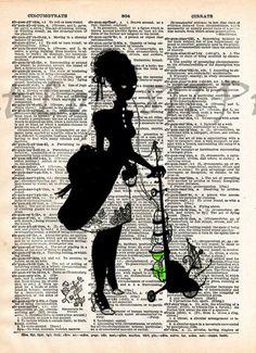 Absinthe art, Creepy victorian absinthe lady, dictionary page art print