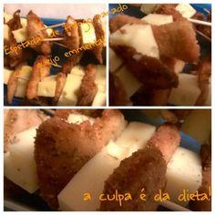 Espetadas de frango panado com queijo emmental