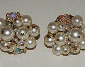 Vintage Faux Pearl Aurora Borealis Cluster Earrings