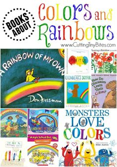 Picture book review list for a theme week about colors and rainbows. Great…