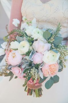 Amazing pink and peach bouquet! Ranunculus, peonies, garden roses, OH MY!!