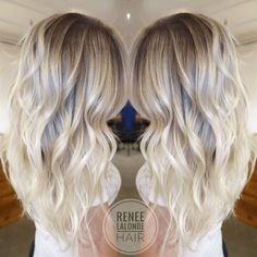 Platinum Blonde Balayage Long Hair Beach Waves