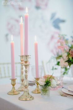 Pink Taper Candle Wedding Ideas, Pink Wedding Candles, Pink and Gold Wedding Table Decorations Blue And Blush Wedding, Blush Pink Weddings, Rustic Wedding Decorations, Pink Table Decorations, Banquet Centerpieces, Pink Candles, Wedding Inspiration, Wedding Ideas, Budget Wedding