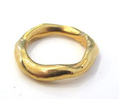 WIDE Organic Sterling Silver ring 18K yellow gold by kalicat, $195.00