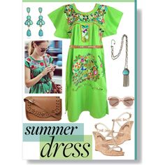 Mexican Summer Dress by krskinner on Polyvore featuring MICHAEL Michael Kors, Dorothy Perkins, Express, Linea Pelle, GREEN, summerdress, turquoise and mexican
