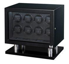 Volta 8 Watch Winder Carbon Fiber Finish w/ LCD Controls Lock & Key 31-560080