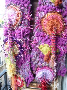 Handknit purple scarf multicolored crochet flowers green