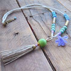 #SummerReady handmade hemp #tassel beaded necklace by Garnish Industry #summerjewelry #bohemian