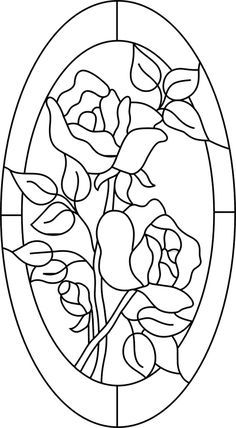 2 roses in a oval border sun catcher pattern