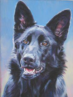 black German Shepherd art print CANVAS print of LA by TheDogLover