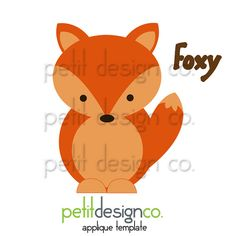 Foxy Applique Template  Free Shipping by PetitDesignCo on Etsy, $1.60