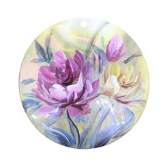Mother of Pearl Shell Pendant Hand Painted Flower Peony Black Lip Shell ZL302009 #ZL #Pendant