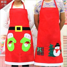 Thicking nap cloth cute adult Christmas aprons Snowman Christmas Apron aprons Christmas decoration restaurant supplies(