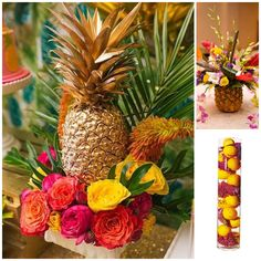 This gold pineapple is way on point and a great idea for a tropical themed party! Unique Wedding Centerpieces, Wedding Decorations, Centerpiece Ideas, Pool Decorations, Havanna Party, Pineapple Centerpiece, Gold Pineapple Decor, Hawaiian Centerpieces, Colorful Centerpieces