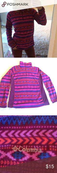 Columbia magenta fleece Youth L but fits like a women's small. Pretty color with cute, festive pattern Columbia Sweaters