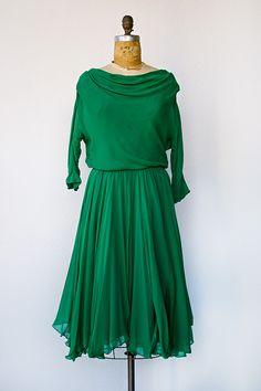 VINTAGE 1950S EMERALD GREEN CHIFFON PARTY DRESS | Draped in Emeralds Dress
