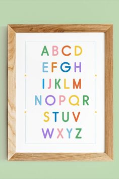 A a fun and colourful alphabet printed poster that's perfect for a nursery, playroom or classroom. Great as a gift or a cute way of sprucing up your kid's room.  This poster comes in a couple different sizes :  8×10 in / 12×16 in / 16×20 in / 18×24 in Alphabet Wall Art, Abc Alphabet, Alphabet Print, Abc Poster, Poster Prints, Nursery Prints, Nursery Wall Art, Playroom Decor, Printable Wall Art