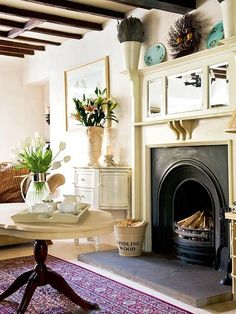 Zsa Zsa Bellagio blog, mirrors over fireplace like this is perfect for lover ceilings