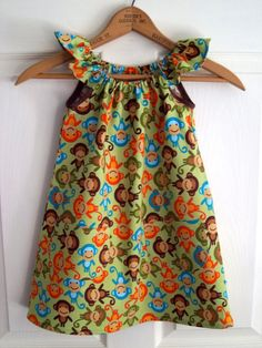 New item today: Monkey Play Frock - a cute, simple dress for a girl, size: 3 - 4