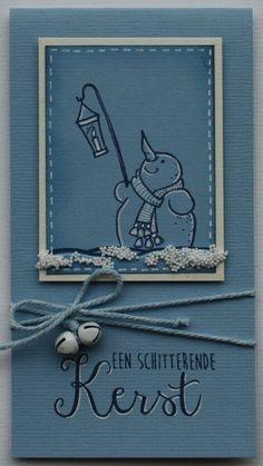 Marjolein maakte 4 kaarten met sneeuwpop-stempels.