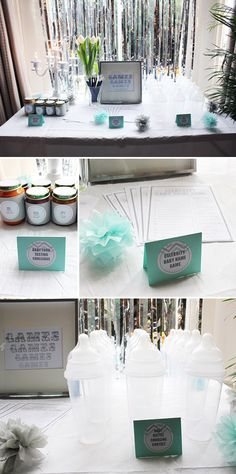 Chugging contest!!! Hilarious!!!! Love!!!!  Gray and Mint Baby Shower with Chevron Details for Two Friends