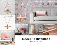 Blushing Interiors moodboard. All things blush and rose gold for you and your home. www.aprilmawhinney.com