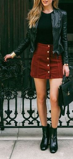 #fall #fashion / leather jacket   red
