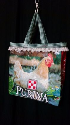 Mad Hen chicken feed sack shopping tote bag purse green gingham lined farm charm