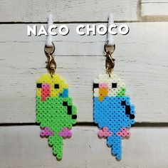 インコのイヤホンジャック(ストラップ) Perler Bead Designs, Hama Beads Design, Perler Bead Art, Loom Beading, Beading Patterns, Hamma Beads Ideas, Pokemon Perler Beads, Peler Beads, Iron Beads