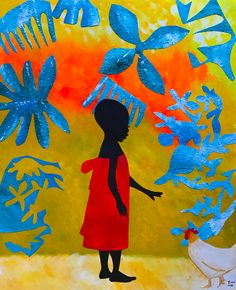 African Artwork #orange #yellow #blue #africa #history #culture #powerful #africanartwork #black #strong #child African Artwork, South African Artists, African Culture, History, Orange Yellow, Blue, Painting, Image, Strong