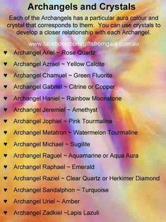 Archangel Crystals for Reiki Healing Archangel Azrael, Metatron Archangel, Archangel Michael, Archangel Prayers, Aura Colors, Angel Cards, Guardian Angels, Chakras, Spirit Guides