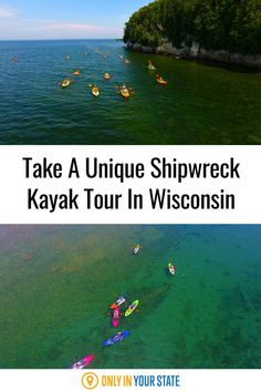 Enjoy a unique kayak tour in with beautiful scenery around you and the ruins of shipwrecks below you. It's the perfect outdoor adventure on the water in Wisconsin. Wisconsin Attractions, Places To Travel, Travel Destinations, Best Bucket List, Kayak Tours, Hidden Beach, Door County, Swimming Holes, Pontoon Boat