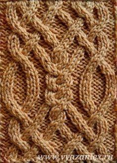 Ирландский мотив из 8 жгутов - образец узора с перемещением петель, связанного спицами, лицевая сторона