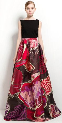 Maxi Exotic Blossoms Skirt