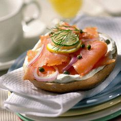 Toasted sesame bagel, cream cheese, tomato, onion, lox