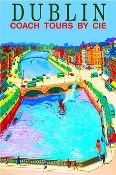 Dublin Ireland Irish Europe European Vintage Travel Advertisement Art Poster