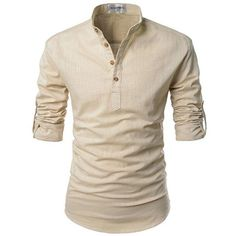 NEARKIN Beloved Men Henley Neck Long Sleeve Daily Look Linen Shirts ❤ liked on Polyvore featuring men's fashion, men's clothing, men's shirts, mens long sleeve shirts, mens linen henley shirt, men's apparel, linen mens clothing and mens extra long sleeve shirts