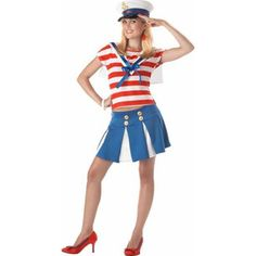Our Teen Cruise Ship Cutie Costume also makes a great Patriotic Sailor Costume for Teens. For other great sailor outfits consider all our Sailor Costumes for any age. - Boat neck top with ribbon trim Carrie Halloween Costume, Sailor Halloween Costumes, Diy Costumes, Costume Ideas, Halloween Crafts, Navy Costume, Navy Party, Rabbit Costume, Sailor Outfits