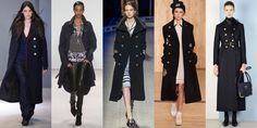 Pre-Fall's nautical trend continues strong into Fall 2016 with Navy-inspired calf and ankle-length coats. If you're on the shorter side wear yours with heels to keep it from swallowing your frame. As seen at Tibi, Marissa Webb, Tommy Hilfiger, Coach, and RED Valentino