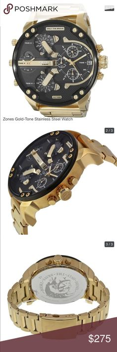 """Men's Diesel gold watch Brand new men's diesel gold watch. """"Mr. Daddy"""" chronograph watch 2.0. Never worn, stickers still on face and back of watch. Battery works. Sorry, original box not included.  Please see additional photos for all the details. Diesel Accessories Watches"""