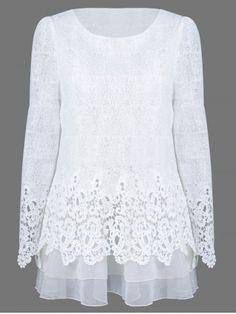 De malla en capas remiendo del cordón de la blusa - BLANCO XL