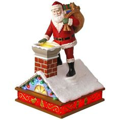 Once Upon a Christmas Up on the Housetop Santa Music Ornament With Light
