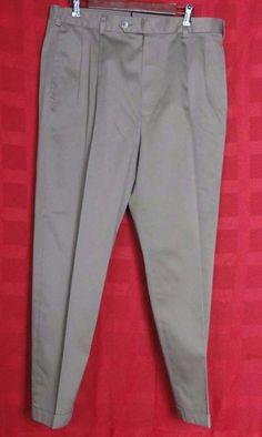 Jos A Bank Traveler Collection Brown Cotton Pleated Chinos Size 36W X 29L #JosABank #KhakisChinos